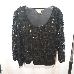 Roaman's Black Large Sequined Long Sleeved Blouse